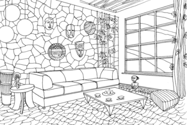 Living Room in African Style coloring page Free Printable Coloring Pages