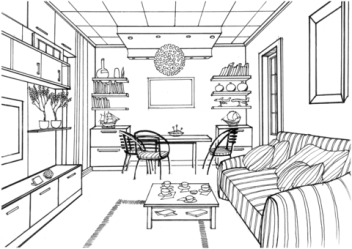 Living Room with a Luminous Ball coloring page Free Printable Coloring Pages
