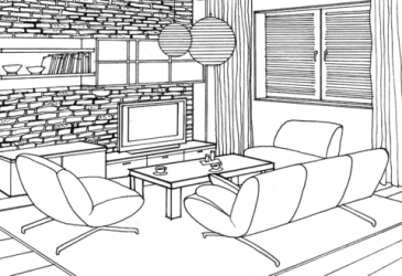 Stone Wall in the Living Room coloring page Free Printable Coloring Pages