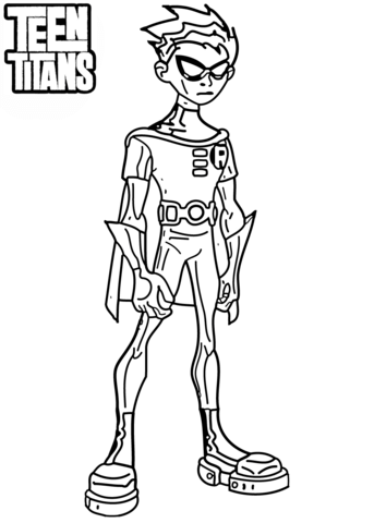 Teen Titan Coloring Pages : titan, coloring, pages, Titans, Robin, Coloring, Printable, Pages