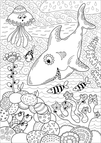 Coral Reef Coloring Page : coral, coloring, Shark, Hunting, Coral, Coloring, Printable, Pages