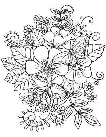 Free coloring pages flowers and butterflies || COLORING