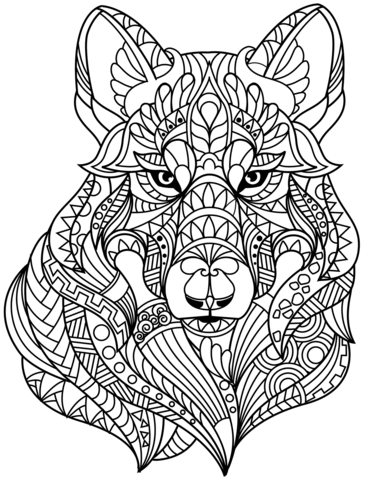 Coloring Pages Wolves : coloring, pages, wolves, Zentangle, Coloring, Printable, Pages