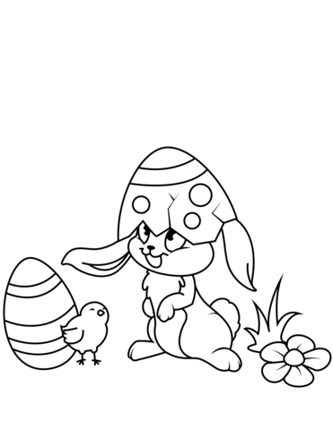 Easter Chick Drawing : easter, chick, drawing, Easter, Chick, Bunny, Coloring, Printable, Pages