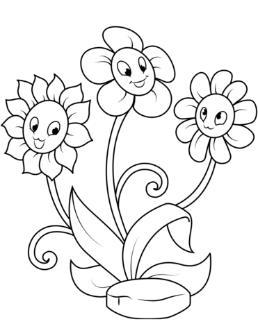Cute Flowers Coloring Pages : flowers, coloring, pages, Flower, Characters, Coloring, Printable, Pages
