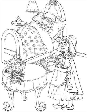 Little Red Riding Hood Coloring Page : little, riding, coloring, Little, Riding, Looks, Disguised, Grandma, Coloring, Printable, Pages