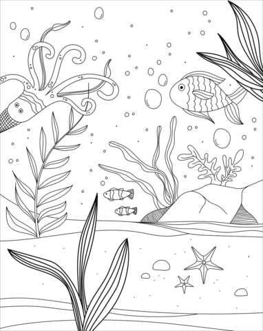 Underwater Coloring Page : underwater, coloring, Underwater, World, Coloring, Printable, Pages