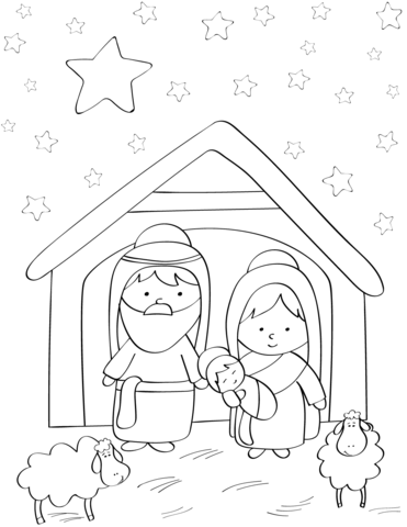 Baby Jesus Coloring Pages : jesus, coloring, pages, Mary,, Joseph, Jesus, Coloring, Printable, Pages