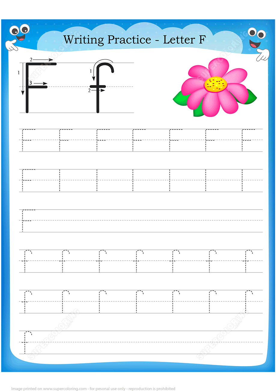 Letter F Is For Flower Handwriting Practice Worksheet  Free Printable Puzzle Games