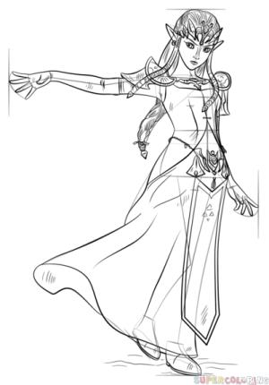 zelda princess draw drawing step legend line getdrawings tutorials