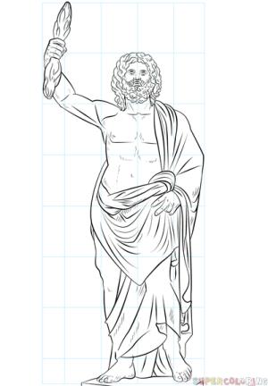 Jak narysować boga greckiego Zeusa Lekcje rysunku krok po kroku