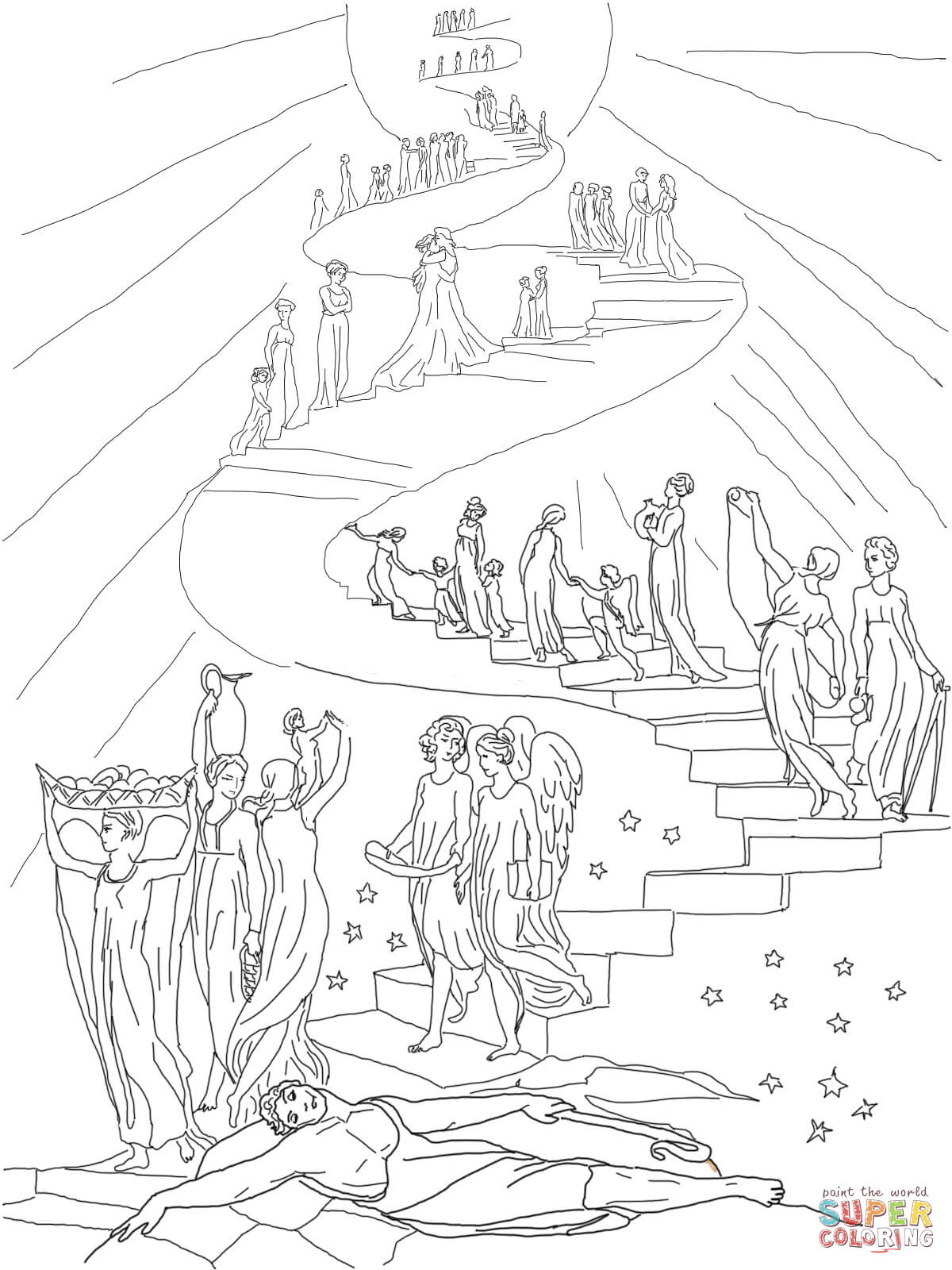 Coloring Page Jacob Dream Ladder Sketch Coloring Page