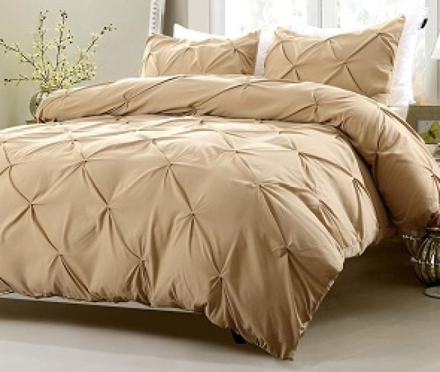 Three Piece Pinch Pleat Design White Bedding Set Includes Comforter And Duvet Cover Cherry Hill Collection