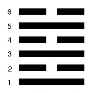 les 6 lignes d'un hexagramme du I Ching et des clés génétiques