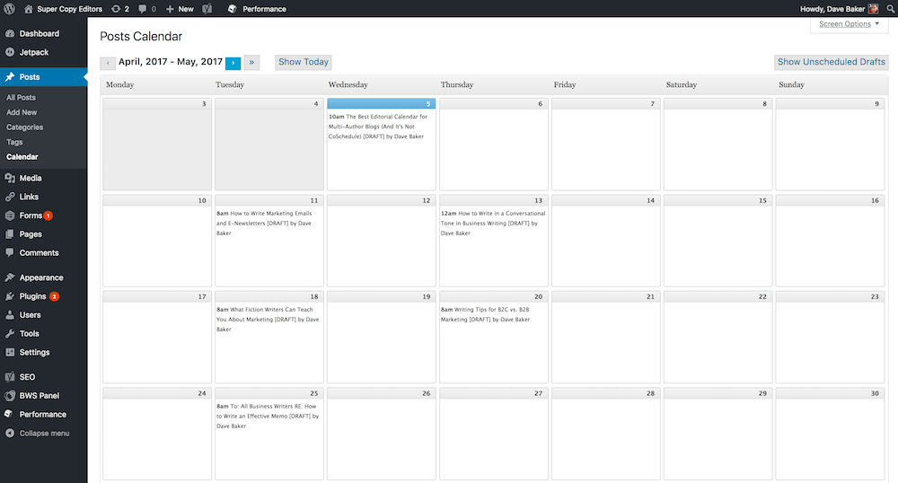 Screenshot of the clean, sleek calendar from the WordPress plugin called Editorial Calendar. It is a very basic plugin. The screenshot shows the year 2017, which is when my review was first published.