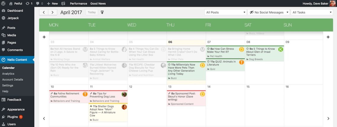 Another screenshot showing the color coded system in the calendar.