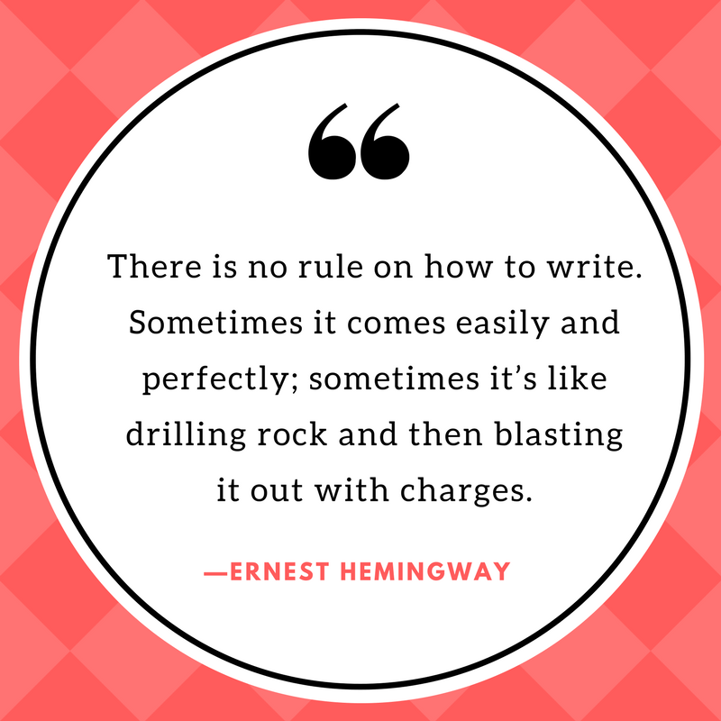 """Image of quote that says, """"There is no rule on how to write. Sometimes it comes easily and perfectly; sometimes it's like drilling rock and then blasting it out with charges."""" Quote by Ernest Hemingway."""