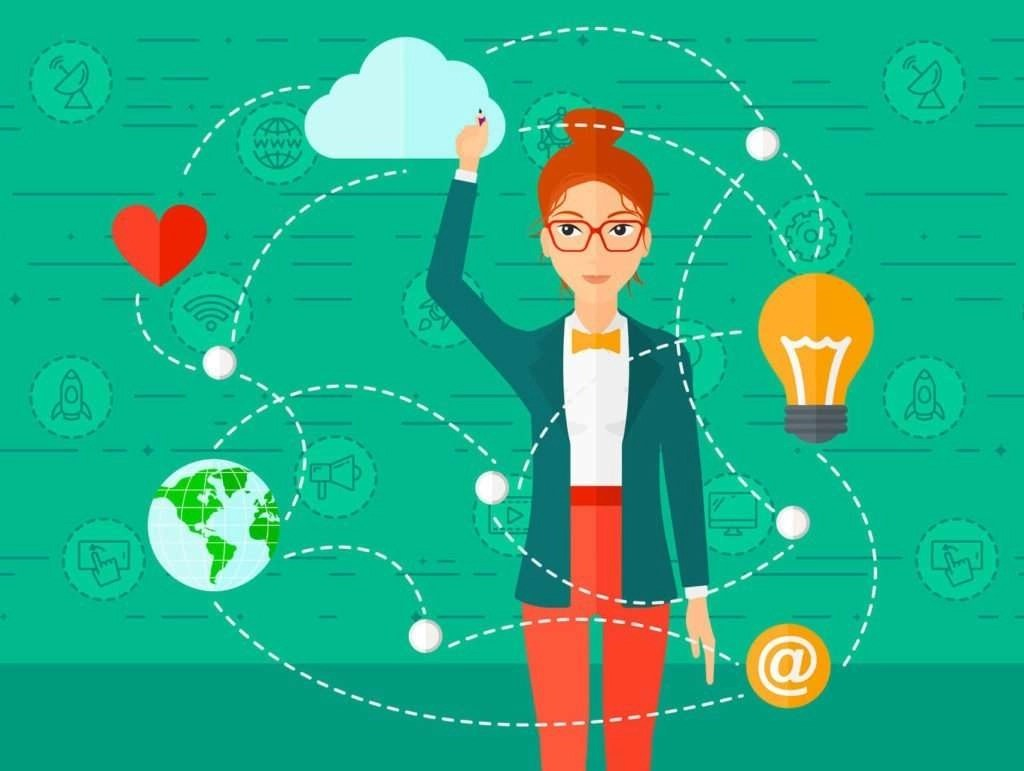 """Illustration of a woman writing on a virtual board on a green background with technology icons surrounding her, like a heart icon, a lightbulb icon, an """"@"""" symbol, a globe icon, and others."""