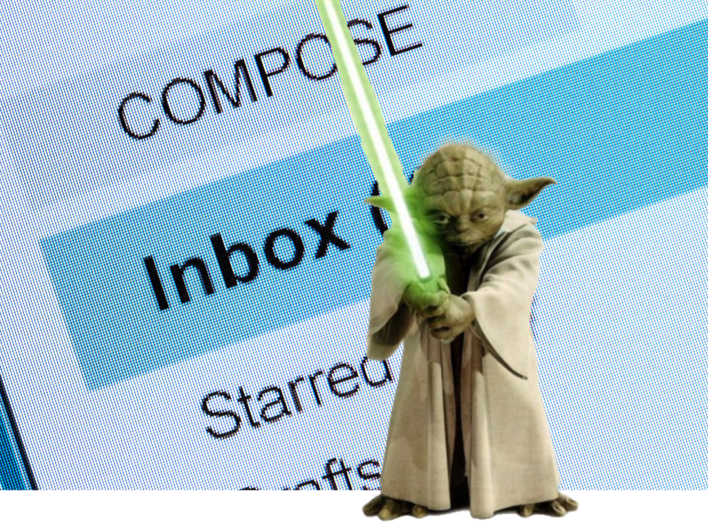 "Photo illustration with a cutout of Yoda, the legendary Jedi Master, with his light saber drawn, against the background of a computer screen showing an email inbox closeup with the words ""COMPOSE"" and ""Inbox"" and ""Starred"" prominent."