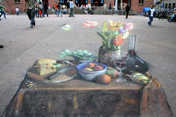 Sidewalk Chalk Illusion Art