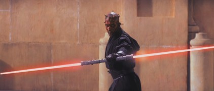 The word 'lightsaber' is never said in the film. Anakin asks Qui-gon about his 'laser sword', but otherwise everyone just accepts the fact that peaceful space monks cary glowy death cutlery.
