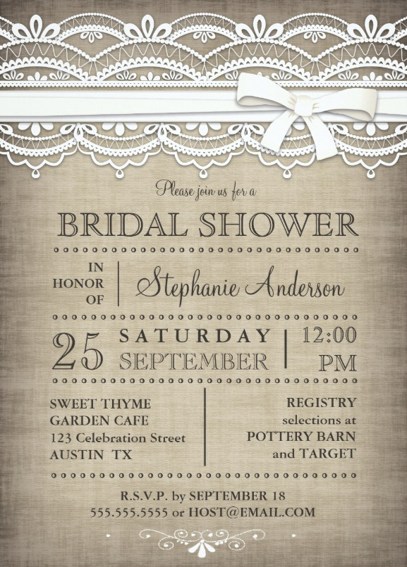 Vine Lace Linen Rustic Country Bridal Shower Invitation