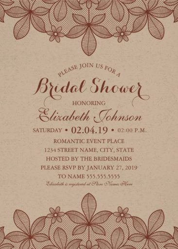 Kraft Paper Rustic Bridal Shower Invitations Vine Country Lace Cards