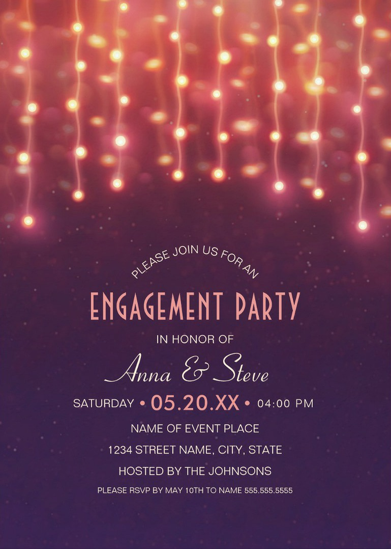 Unique String Lights Engagement Party Invitations