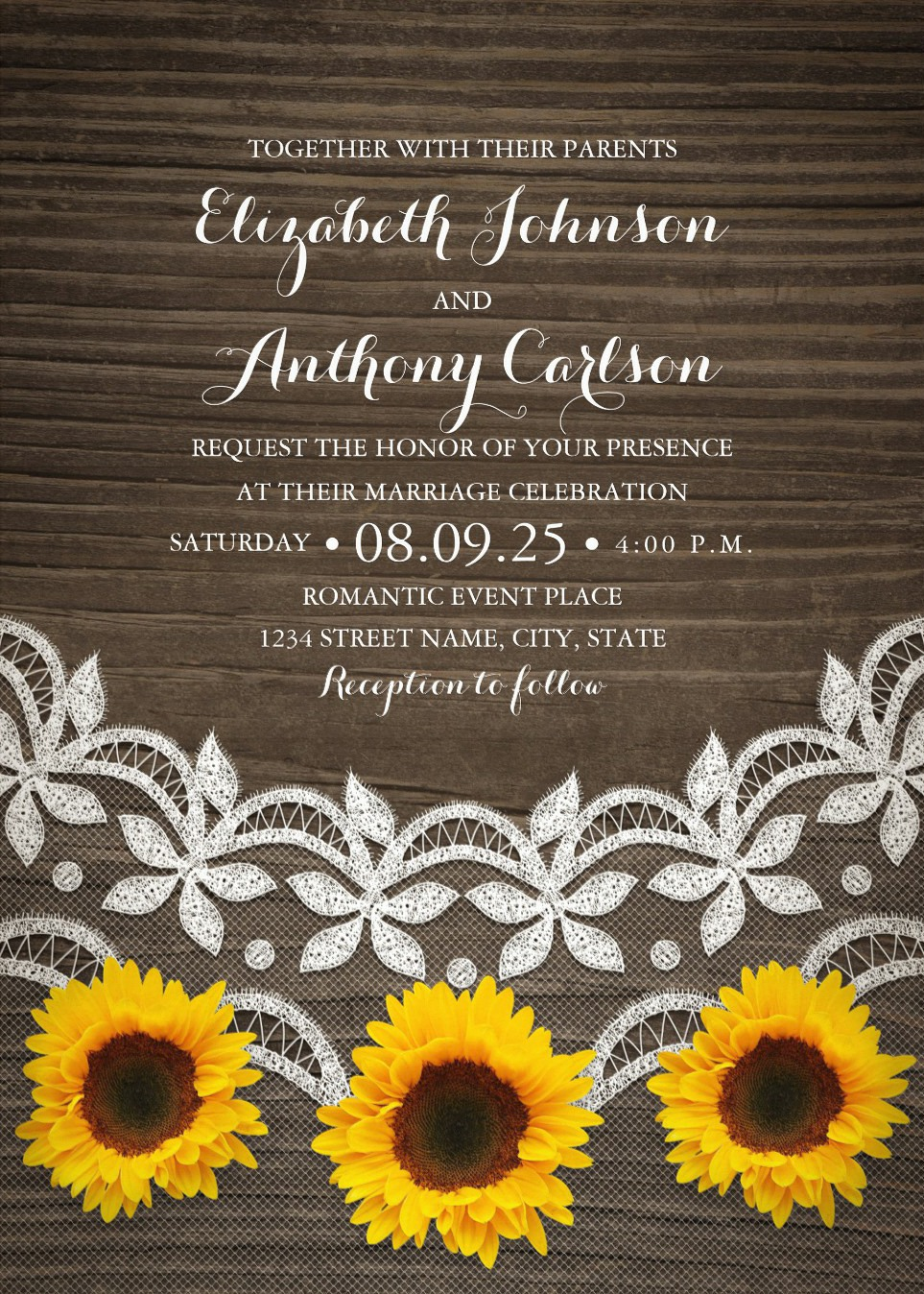 Rustic Country Lace Sunflower Wedding Invitations
