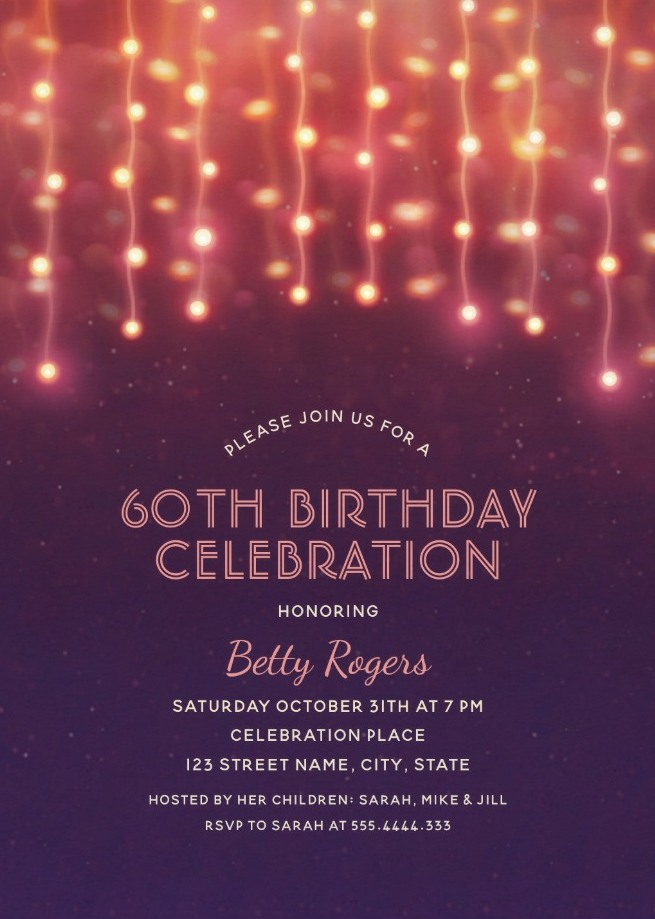 purple 60th birthday invitations