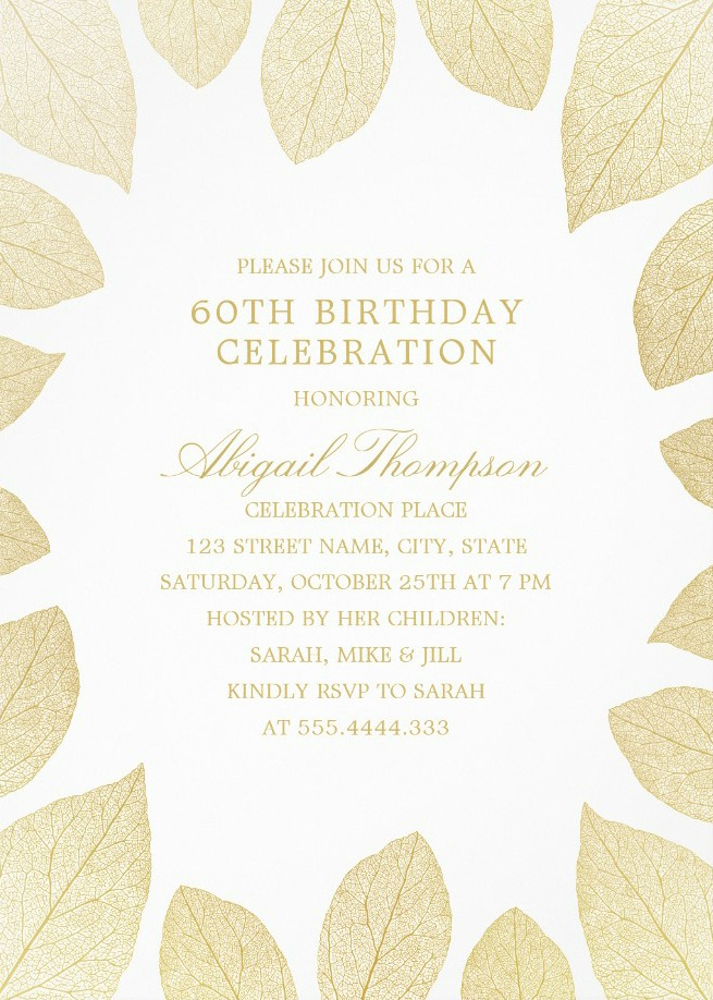 unique gold leaves 60th birthday