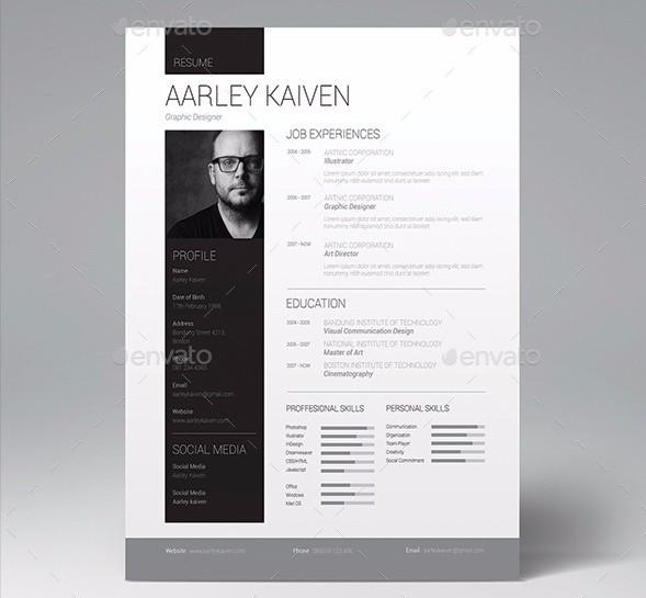 28 Minimal & Creative Resume Templates - PSD, Word & AI (Free ...