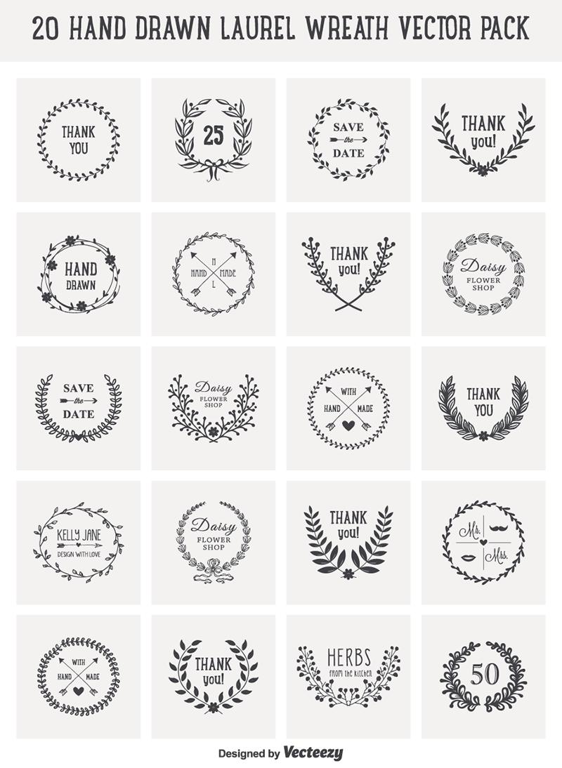 Free Laurel Wreath Svg : laurel, wreath, Download:, Drawn, Laurel, Wreath, Vectors, Super, Resources