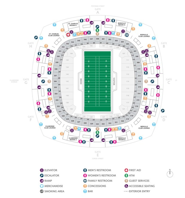 Superdome seating chart for football for Mercedes benz superdome seating chart