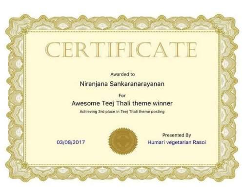 Teej thali Award