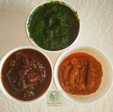 Bhle puri / poori_three type of chutneys
