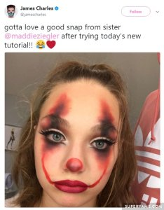 James had many fans who praised the video like maddie ziegler unfortunately her makeup didn   turn out quite original also wyatt oleff attacks hypocrite charles in twitter fight over rh superfame