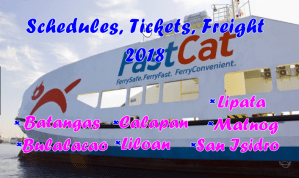 FastCat Schedule, Fare Rate and Freight Charges 2018