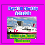 May 2018 2Go Ship Schedule: Manila to/from Mindanao Routes