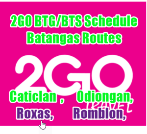 2Go Boat Schedule: Batangas to/from Caticlan, Romblon, Odiongan, Roxas