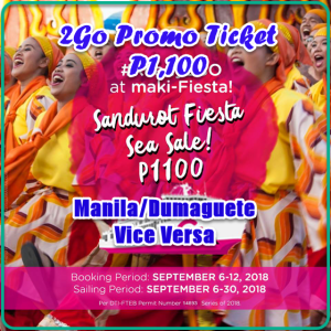 2Go Promo Ticket P1,100: Manila to Dumaguete