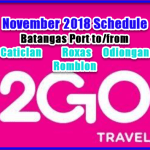 Batangas/Caticlan Routes: 2Go November 2018 Schedule