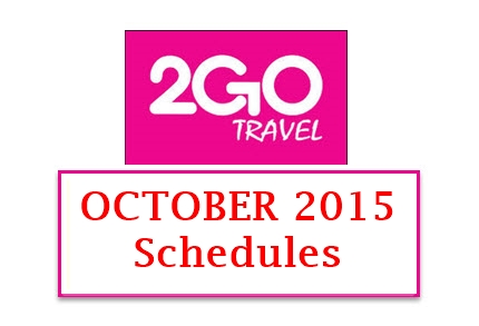 2Go Schedules October 2015 Manila to Nasipit Butuan