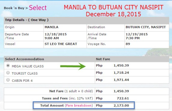 Superferry ticket price December 2015