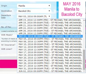 2Go May 2016 Schedule Manila to Bacolod and Vice Versa