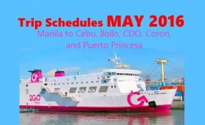 2Go May 2016 Schedule Manila to Cebu, CDO, Puerto Princesa, Iloilo, Coron