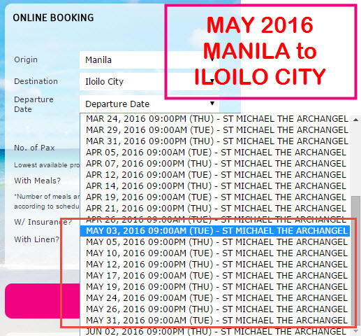 2Go Superferry Schedule Manila to Iloilo City MAY 2016
