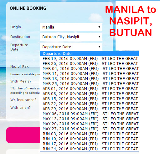 2Go Travel Schedule Manila to Nasipit Butuan March April May June