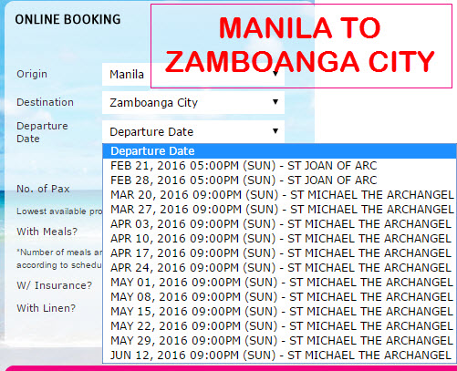 2Go Travel Schedule Manila to Zamboanga City March April May June