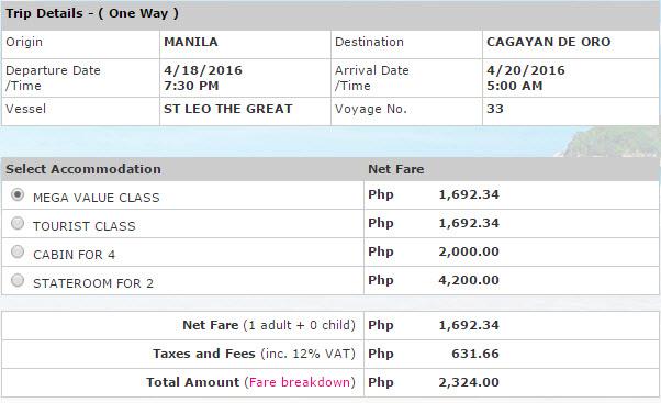 2Go Fare Manila to Cagayan de Oro CDO